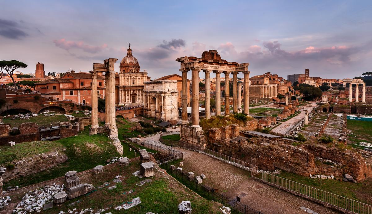 Panorama of Roman Forum (Foro Romano) at Sunset, Rome, Italy